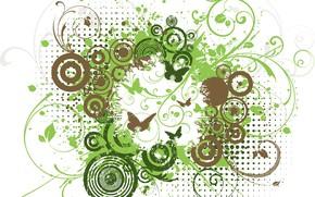 Картинка абстракция, фон, текстура, design, grunge, butterflies, Floral