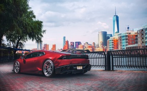 Обои Huracan, light, New Jersey, Lamborghini, red, New York