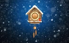 Картинка Зима, Минимализм, Снег, Часы, Новый Год, Фон, Снегирь, Праздник, Настроение