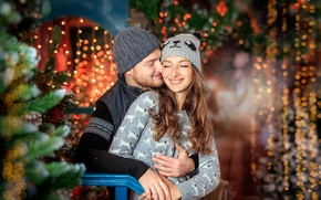 Картинка зима, девушка, радость, праздник, новый год, рождество, пара, мужчина, ёлка, боке, декорация
