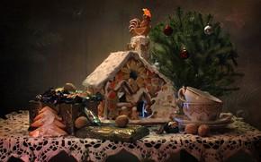 Картинка ветки, стол, праздник, коробка, шары, игрушки, новый год, конфеты, чашки, сладости, домик, орехи, выпечка, хвойные, …