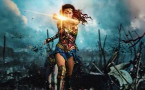 Картинка cinema, Wonder Woman, armor, war, movie, brunette, film, warrior, DC Comics, Diana, strong, Gal Gadot, …