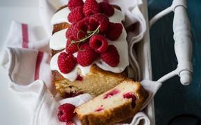 Обои поднос, кекс, малина, ягоды