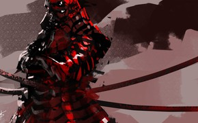 Картинка красный, фон, доспехи, самурай