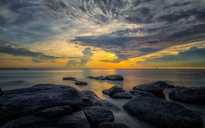 Обои море, закат, камни, побережье