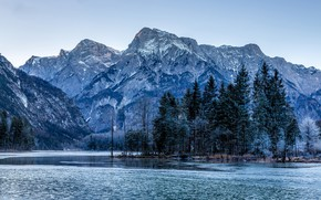 Картинка лес, деревья, горы, озеро, синева, скалы, Австрия, Almsee