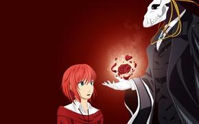 Картинка девушка, роза, аниме, арт, чародей, красный фон, Mahou Tsukai no Yome