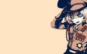 Картинка girl, soldier, military, war, anime, blonde, asian, manga, oriental, asiatic, powerful, strong, uniform, seifuku, medal, …