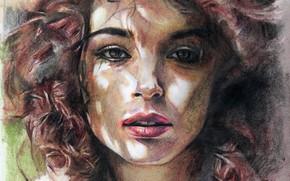 Картинка лицо, рисунок, штрихи, губы, пастель, шатенка, портрет девушки, вьющиеся волосы, свет и тень