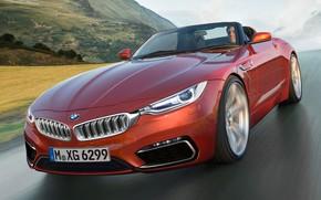 Картинка дорога, горы, скорость, BMW