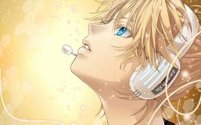 Картинка аниме, наушники, арт, парень, Vocaloid, Вокалоид
