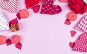 Картинка Свечи, Сердечки, Праздник, День святого Валентина