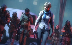 Картинка девушка, пистолет, улица, блондинка, солдаты, resident evil, capcom, sherry birkin