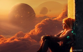 Картинка девушка, облака, птицы, планета, костюм, telekinesis, test subject