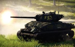 Картинка фон, война, танк, War Thunder