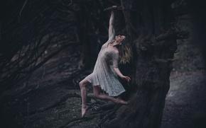 Картинка девушка, дерево, платье, висит