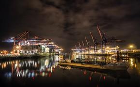 Картинка город, порт, hamburg