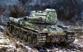 Обои Советский, Арт, Великой отечественной войны, Объект 240, Танк, периода, ИС-2, Тяжёлый, СССР