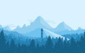 Обои холод, зима, лес, небо, свет, снег, деревья, горы, синий, голубой, маяк, елки, ели, мороз, winter, ...