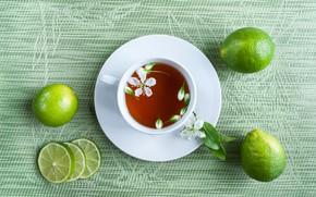 Картинка цветы, стол, чай, чашка, лайм, напиток, блюдце