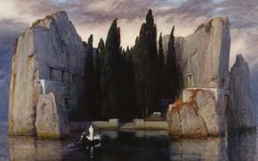 Картинка деревья, камни, лодка, 1883, Символизм, Арнольд Бёклин, Остров мертвых
