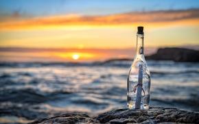 Обои море, письмо, закат, бутылка, послание