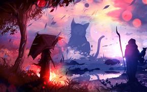 Картинка кошка, девушка, природа, жрец