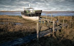 Картинка мост, корабль, мель