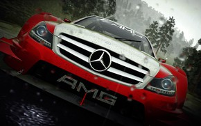 Картинка car, Mercedes, game, rain, AMG, red and white, the crew, circuit