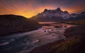 Картинка закат, горы, река, Чили, Chile, Patagonia, Патагония, Paine River, Река Пайн