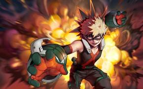 Картинка огонь, герой, парень, Boku no Hero Academia, Моя геройская академия, Бакугоу Катсуки