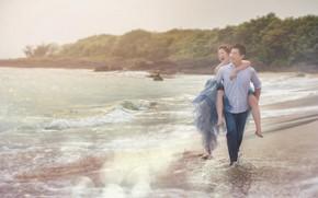 Картинка пляж, счастье, двое