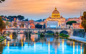 Картинка city, город, Рим, Италия, Italy, Cathedral, panorama, Europe, view, Rome, travel, Vatican, basilica