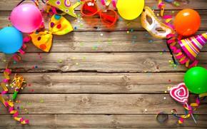 Картинка праздник, шары, очки, бант, день рождение