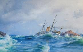 Обои художник, акварель, живопись, волны всплески, Herman Gustav Sillen., карандаш, флот, battleship, океан, гуашь, скалы шторм, ...