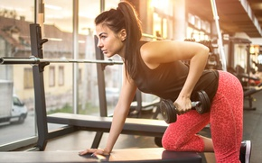 Картинка pose, female, workout, fitness, gym, exercises, Dumbbell