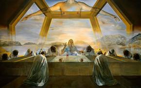 Обои картина, Сальвадор Дали, Тайная Вечеря, Salvador Dali, сюрреализм
