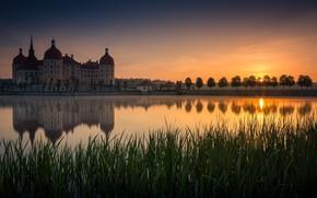 Картинка закат, замок, Германия, водоем