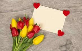 Картинка цветы, сердце, букет, colorful, сердечки, тюльпаны, love, heart, flowers, romantic, tulips, spring