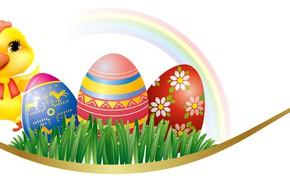 Картинка яйца, радуга, Пасха, цыпленок