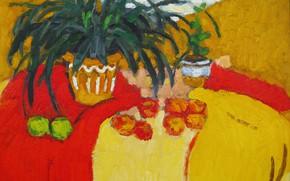 Картинка 2006, горшок, натюрморт, алое, зеленые яблоки, Петяев, красные ябоки