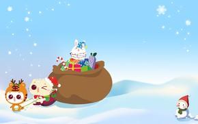 Картинка зима, праздник, аниме, арт, подарки, Новый год, снеговик, снежинка