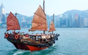 Картинка здания, Гонконг, гавань, Hong Kong, джонка, Бухта Виктория, Коулун, Kowloon, Victoria Harbor