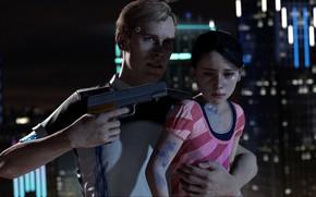 Картинка girl, gun, pistol, game, weapon, man, kid, Detroit: Become Human