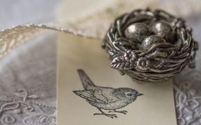 Картинка рисунок, яйца, гнездо, птичка