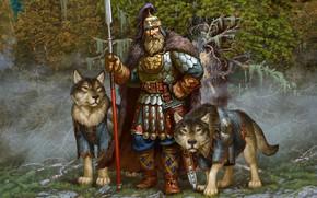 Обои оружие, собака, доспехи, Лес, воин, богатырь