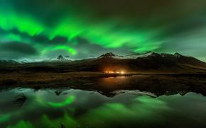 Картинка небо, горы, ночь, отражение, северное сияние, Норвегия, фьорд