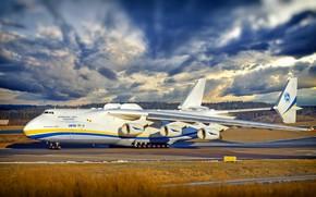 Обои Небо, Облака, Самолет, Тучи, Полоса, Крылья, Двигатели, Мечта, Украина, Мрия, Ан-225, Airlines, Советский, Грузовой, Ан ...