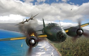 Картинка Mitsubishi, бомбардировщик, живопись, Lockheed, G4M, тяжёлый истребитель, P-38 Lightning