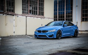 Картинка BMW, blue, sport coupe, black wheels, M Performance